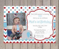 Boy First Birthday Invitation Elephant Boy by VividLaneDesigns, $18.00