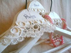 Shabby White French Wooden Hangers Paris Graphic