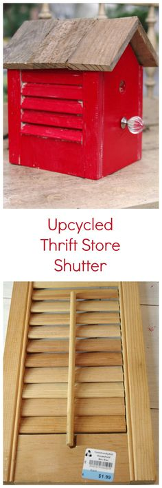 Upcycled Thrift Store Shutter into a rustic DIY bird house by Create and Babble. Small Shutters, House Shutters, Old Shutters, Bedroom Shutters, Kitchen Shutters, Repurposed Shutters, Plastic Shutters, Bird House Plans, Bird House Kits