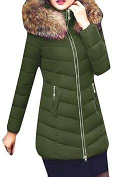 2cd53e9b79eb Papijam Women s Winter Puffer Faux Fur Hood Slim Parkas Jacket Coats Army  Green X-Small