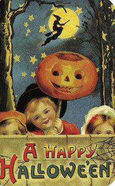 An adorable Victorian era Halloween postcard with the appropriate jack-o-lantern (smiling), witch and spider's web.  Kids are smiling - Halloween is for fun!