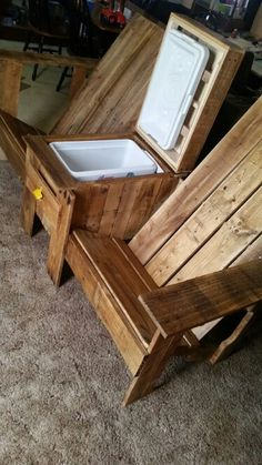 Pallet Furniture Projects Double Chair Bench With Table Outdoor Furniture Chairs, Pallet Patio Furniture, Adirondack Furniture, Rustic Furniture, Diy Furniture, Adirondack Chairs, Furniture Outlet, Wooden Outdoor Chairs, Porch Wooden