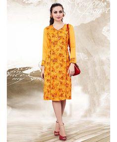 40586720a10 Beautiful Yellow Colour Kurta Simple Kurtis