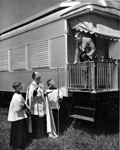 Catholic priest Father Elslander, flanked by two acolytes, blessing the Ringling Circus train in Sarasota as it prepares to head North. Ringling Circus, Ringling Brothers Circus, Florida City, Old Florida, Costa, Barnum Bailey Circus, Circus Train, Catholic Priest, Old Trains