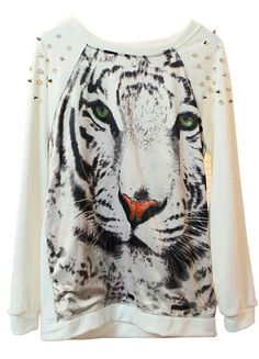 White Tiger Face Print Rivets Sweatshirt