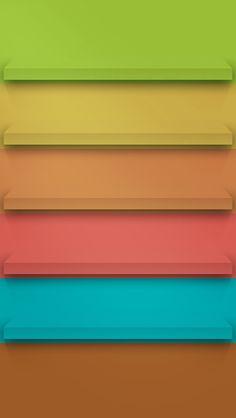 パステル色の棚 iPhone5壁紙