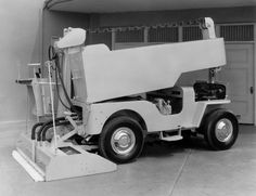 The Jeep CJ-3B chassis with its capable 4WD system were used as the foundation for early Zamboni ice resurfacing machines.