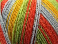 Sock yarn - 1 ball for a pair. Fav colours are Twist & shout, skippy & leapfrog