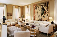 Mark & Renee Rockefeller's New York home. many of the pieces, like the Picasso tapestry, the Giacometti lamps and the giltwood table by Jean-Michel Frank, are from Nelson Rockefeller's famous Fifth Avenue apartment.