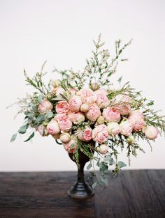"""16 Spring Wedding Flower Ideas to Pin Right Now - Floral designer Jaclyn Journey took these peony-lookalikes (FYI: they're called """"Piano"""" roses - Design Floral, Deco Floral, Arte Floral, Spring Wedding Flowers, Wedding Bouquets, Wedding Dresses, Floral Centerpieces, Floral Arrangements, Flower Arrangement"""