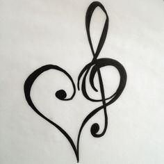 Heart and treble clef tattoo design