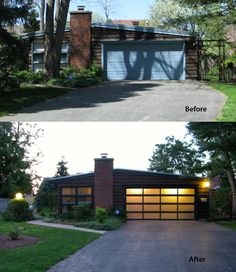 Instead of sliding glass door: Completely modernize your home with a new glass garage door from C. This model 3295 blends the raw industrial look with a clean architectural design. Garage Door Lights, Glass Garage Door, Garage Door Design, Glass Doors, Garage Door Makeover, Home Exterior Makeover, Exterior Remodel, Modern Garage Doors, Best Garage Doors