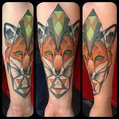 My third tattoo: fox with a geometric pattern. Michael Bogle Eye Candy Tattoo New Orleans.