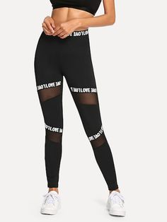To find out about the Mesh Contrast Letter Leggings at SHEIN, part of our latest Leggings ready to shop online today! Crop Top And Leggings, Leggings Sale, Cute Leggings, Printed Leggings, Floral Leggings, Cheap Leggings, Pink Leggings, Tribal Leggings, Fall Leggings