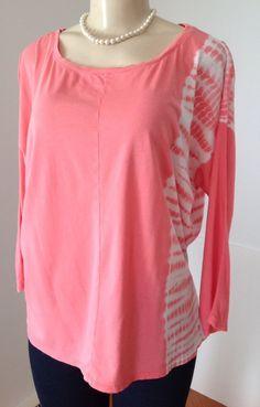 J Jill - Pure Jill 100% Pima Cotton Medium Tunic Top Coral Pink Tie Dye Casual | eBay