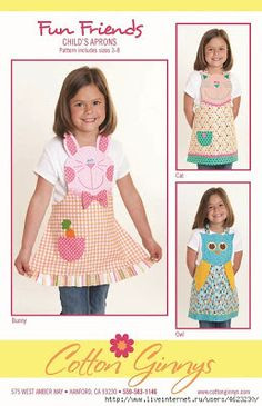 Sewing Projects For Children - Love This : Fun Friends Apron sewing pattern from Cotton Ginnys Sewing For Kids, Baby Sewing, Craft Patterns, Sewing Patterns, Apron Patterns, Child Apron Pattern, Childrens Aprons, Sewing Aprons, Kids Apron