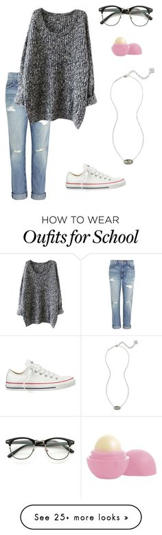 """""""For school"""" by l-styleformiles-l on Polyvore featuring Current/Elliott, Converse, Kendra Scott and Eos"""