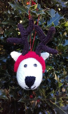 Hand knitted Dog with antlers Christmas tree by Stewscraft on Etsy