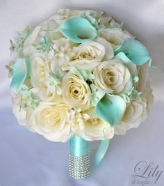 "Bridal Bouquet Silk Flower 17 Piece Package Wedding Bride Maid Of Honor Bridesmaid Boutonniere Corsage TIFFANY BLUE IVORY ""Lily of Angeles"""