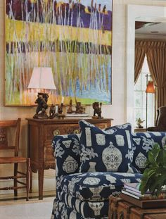 Love the painting, furniture and  classic fabric..(.in another color)