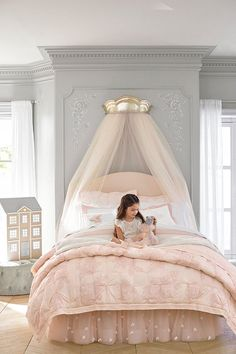 Create an enchanted sleep space with this quilted bedding, inspired by the subtle floral patterns of vintage lace. Boasting pintuck accents, the quilt is a welcoming layer. Designed with world-renown fashion designer Monique Lhuillier, it marries function Quilt Bedding, Girl Bedding, Bedding Sets, Little Girl Rooms, Dream Bedroom, Fairytale Bedroom, Master Bedroom, Girls Bedroom Canopy, Luxury Kids Bedroom