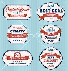Set of vintage retro labels vector by balasoiu on VectorStock®