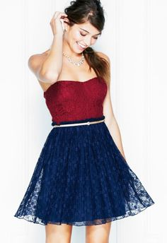 Strapless Red Lace Pleated Dress would wear on a date with captain america