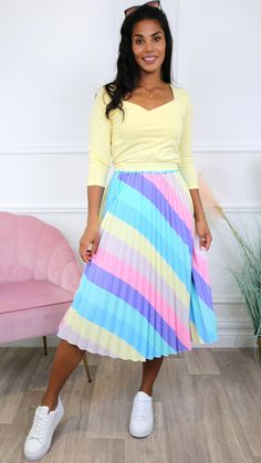 Rainbow skirt, summer skirt, skirt outfit, midi skirt Pleated Skirt, Midi Skirt, Independent Clothing, Boutique Stores, Summer Skirts, Stripe Print, Online Boutiques, Skirt Outfits, Fashion Online