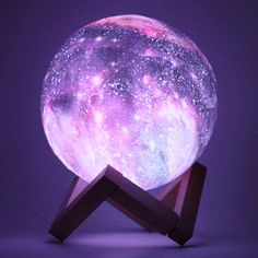 : DecBest New Printing Moon Lamp Space LED Night Light Remote Control USB Charge Valentine Giftis Diversiform-NewChic Mobile Room Ideas Bedroom, Bedroom Lamps, Bedroom Decor, Galaxy Bedroom Ideas, Cute Night Lights, Led Night Light, Bedroom Night Light, Night Lamps, 3d Light