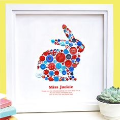 This stunning Personalised Thank You Button Rabbit Picture makes a unique gift for your Favourite Teacher or very special person!