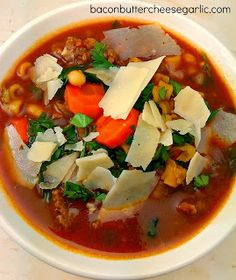 Pasta e Fagioli...this hearty soup is full of veggies, beans, and Italian sausage!  Darn tasty!