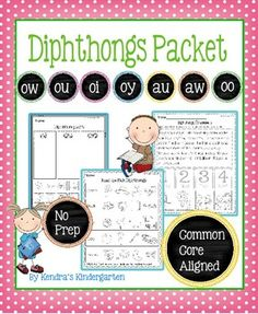"Blends PacketThese worksheets, games, books, and activities will teach the ow/ou oi/oy, au/aw, and oo diphthongs, . Most pages require no prep (only the ""Go Fish"" game needs prep). All are engaging for students and make learning to read and spell diphthong words fun."