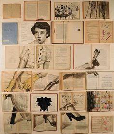 thevintaquarian:    samsarat:  Errata Corrige, 2012; libri antichi e non, inchiostro, chiodi, legno, cm 130x110  awesome