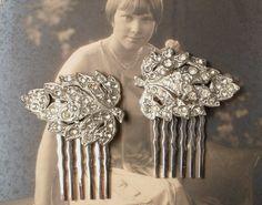 Pair Original Art Deco 1920s Rhinestone Bridal Hair Combs, Heirloom Pave Crystal Fur Clip Haircombs GATSBY