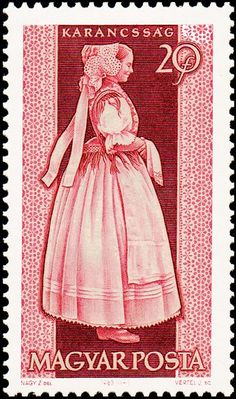 Hungarian Embroidery Stamp printed by Hungary, shows provincial costumes of Karancssag , circa 1963 Folk Costume, Costumes, Hungarian Embroidery, Postage Stamp Art, Stamp Printing, Love Stamps, Vintage Stamps, Stamp Collecting, Chain Stitch