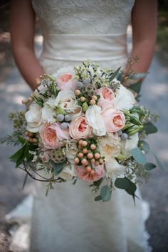 AK Brides - Google+   Gorgeous bridal bouquet of pale pinks, Ivory and berries for a perfect Fall wedding day - Floral design by Hot House Design Studio - Photography by Stacy Richardson