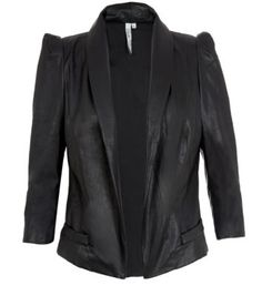 Belle Heart Black Chiffon Back Leather-Look Jacket