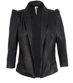 Belle Heart Black Chiffon Back Leather-Look Jacket