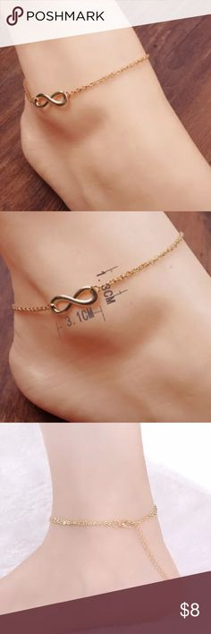 5/$25 Adjustable golden infinity ankle bracelet Lightweight gold plated infinity pendant ankle bracelet. Fine chain. Adjustable length Jewelry Bracelets