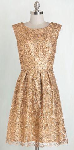 Fun One Like You Dress in Gold