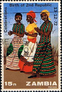 Postage stamps of Zambia 1973 Anniversary Second Republic Fine Used SG 206 Scott  115  Other Zambia Stamps HERE