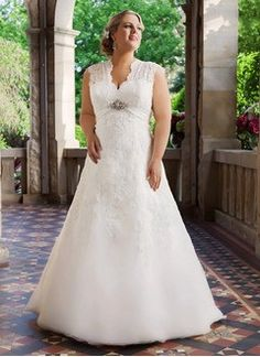 A-Line/Princess V-neck Court Train Organza Wedding Dress With Lace Beading