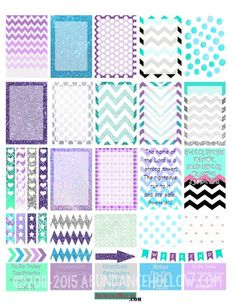 FREE Happy Planner Teal & Purple Dots and Chevron Stickers from Abundancehollow: