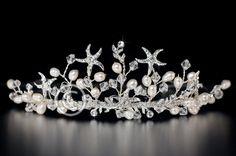 Beach Wedding Rhinestone Starfish Freshwater Pearl Crystal Bridal Tiara Headpiece Silver