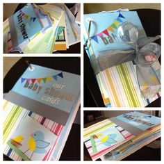 baby shower cards bonded together to create a book! super easy and super fun!