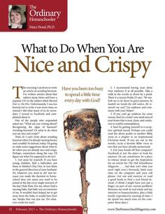 What to Do When You Are Nice And Crispy  The Old Schoolhouse Magazine - February 2013 - Page 32-33