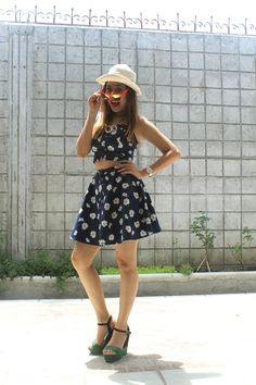 Wearing Honeys dress, Penshoppe hat, SM Parisian wedges, Anne Klein watch and Pacific Blue shades #fashion #style