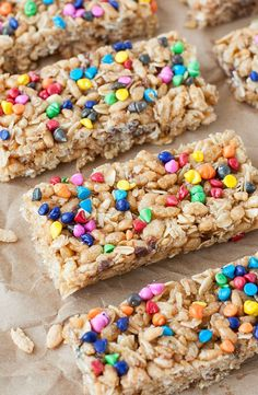 Skip the box and whip up a batch of tasty granola bars at home! These chewy no-bake rainbow chip granola bars are as much fun to make as they are to eat!
