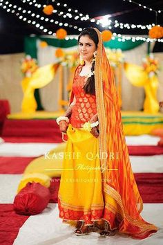latest Pakistani designer red and yellow lehenga choli 2017