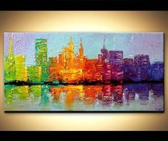 Modern palette knife abstract city painting NYC Art New York Skyline ORIGINAL Contemporary by OSNAT 48x24 via Etsy by paulaqwest